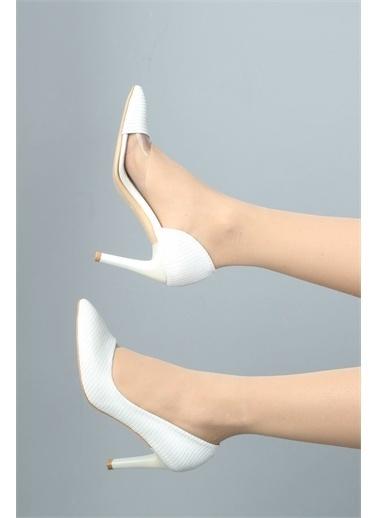 Modabuymus Modabuymus  Simli Şeffaf Stiletto Topuklu Kadın Ayakkabı - Lotus Beyaz